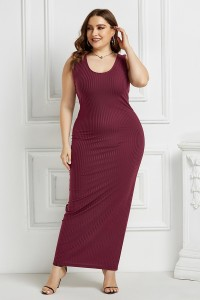 Beautiful Long Sheath Scoop Sleeveless Burgundy Knitted Plus Size Midi Dress