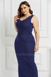 Beautiful Long Sheath Scoop Sleeveless Royal Blue Knitted Plus Size Midi Dress