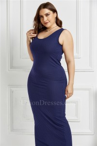 Beautiful Long Sheath Scoop Sleeveless Royal Blue Knitted Plus Size Midi Dress