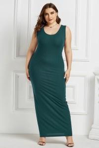 Beautiful Long Sheath Scoop Sleeveless Teal Knitted Plus Size Midi Dress