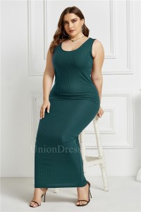 Beautiful Long Sheath Scoop Sleeveless Teal Knitted Plus Size Midi Dress