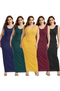 Beautiful Long Sheath Scoop Sleeveless Yellow Knitted Plus Size Midi Dress
