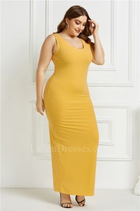 Beautiful Long Sheath Scoop Sleeveless Yellow Knitted Plus Size Midi Dress