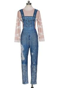 Causal High Neck Long Sleeves Rhinestones Beaded Jeans Rompers Jumpsuit