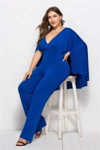 Charming Deep V Neck Royal Woman Clothing Plus Size Party Evening Jumpsuit With Cape