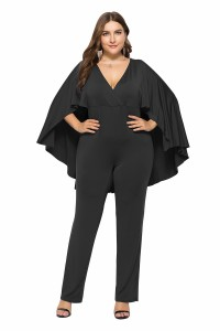 Charming Deep V Neck Black Woman Clothing Plus Size Party Evening Jumpsuit With Cape