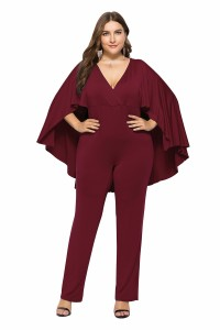 Charming Deep V Neck Burgundy Woman Clothing Plus Size Party Evening Jumpsuit With Cape