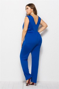 Charming Scoop Royal Blue Cut Out Beach Sumer Woman Clothing Plus Size Jumpsuit