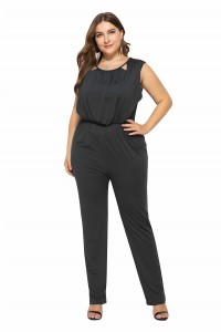 Charming Scoop Black Cut Out Beach Sumer Woman Clothing Plus Size Jumpsuit