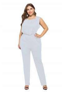 Charming Scoop White Cut Out Beach Sumer Woman Clothing Plus Size Jumpsuit