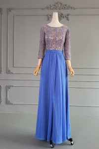 Chic A Line Blue Lace Chiffon Beaded Mother Of The Bridesmaid Dress With 3 4 Sleeves