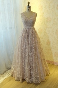 Chic Long Ball Gown Pink Lace Pearl Beaded Prom Quinceanera Dress V Neck Open Back