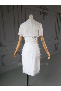 Classic Short Mini Sheath Sweetheart Tiered White Organza Beaded Mother Of The Bridesmaid Dress With Jacket