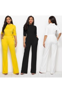 Classic Turn Down Collar Half Sleeve Yellow Bodysuit Formal Occasion Jumpsuit With Sash 2