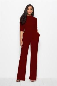 Classic Turn Down Collar Half Sleeve Burgundy Bodysuit Formal Occasion Jumpsuit With Sash