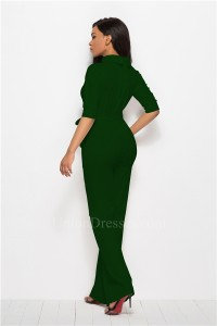 Classic Turn Down Collar Half Sleeve Green Bodysuit Formal Occasion Jumpsuit With Sash