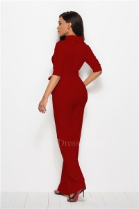 Classic Turn Down Collar Half Sleeve Red Bodysuit Formal Occasion Jumpsuit With Sash