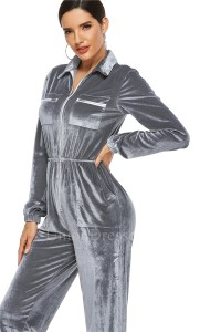 Classic Turn Down Collar Long Sleeve Grey Velvet Bodysuit Women Jumpsuit