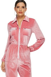 Classic Turn Down Collar Long Sleeve Pink Velvet Bodysuit Women Jumpsuit