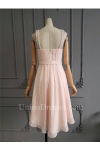 Cute A Line Short Pink Chiffon Beaded Prom Cocktail Dress Scoop Sleeveless
