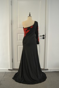Elegant Black Mermaid Prom Evening Dress One Shoulder With Red Appliques
