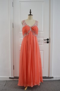 Empire Beaded Prom Party Dress V Neck Open Back Coral Chiffon With Crystals