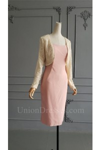 Elegant Knee Length Sheath Pink Mother Of Bridesmaid Dress With Sequined Jacket