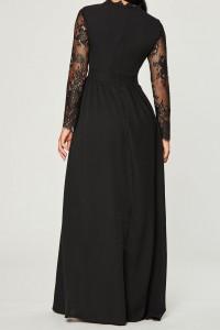 Elegant Prom Evening Dress Long Sleeve Black Lace Full Back