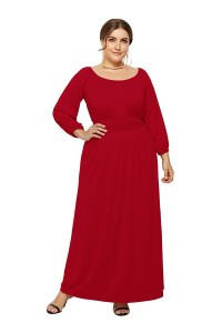 Elegant Long Sleeve Red Jersey A Line Spring Fall Plus Size Clothing Maxi Casual Dress