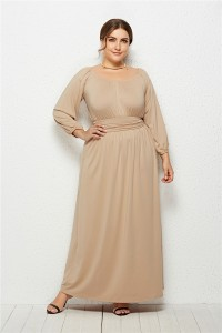 Elegant Long Sleeve Nude Jersey A Line Spring Fall Plus Size Clothing Maxi Casual Dress