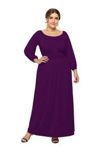 Elegant Long Sleeve Purple Jersey A Line Spring Fall Plus Size Clothing Maxi Casual Dress