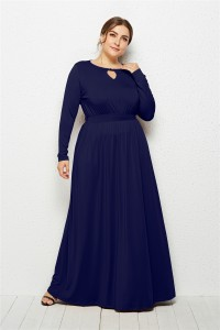 Elegant Scoop Long Sleeve Navy Blue Jersey Clothing Cut Out Spring Fall Plus Size Women Clothing Maxi Casual Dress