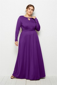 Elegant Scoop Long Sleeve Purple Jersey Clothing Cut Out Spring Fall Plus Size Women Clothing Maxi Casual Dress