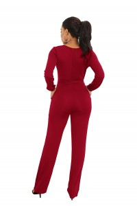 Elegant V Neck Long Sleeve Burgundy Jersey Woman Clothing Casual Jumpsuit