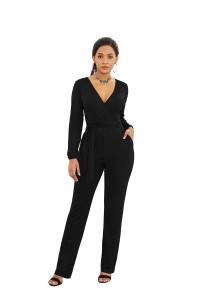 Elegant V Neck Long Sleeve Black Jersey Woman Clothing Casual Jumpsuit