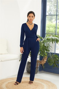 Elegant V Neck Long Sleeve Royal Blue Jersey Woman Clothing Casual Jumpsuit