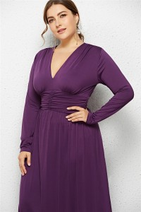 Elegant V Neck Long Sleeve Ruched Purple Jersey Clothing Spring Fall Plus Size Women Clothing Maxi Casual Dress