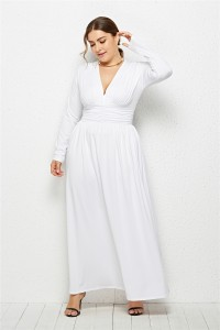 Elegant V Neck Long Sleeve Ruched White Jersey Clothing Spring Fall Plus Size Women Clothing Maxi Casual Dress