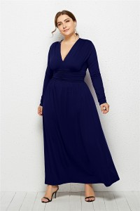 Elegant V Neck Long Sleeve Ruched Navy Blue Jersey Clothing Spring Fall Plus Size Women Clothing Maxi Casual Dress