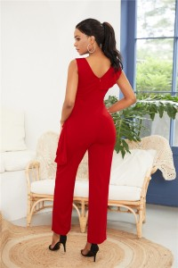 Elegant V Neck Red Jersey Clothing Woman Party Special Occasion Jumpsuit With Ruffle