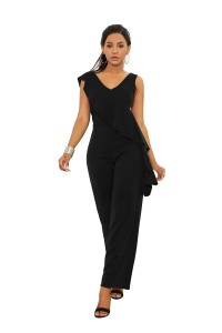 Elegant V Neck Black Jersey Clothing Woman Party Special Occasion Jumpsuit With Ruffle