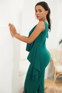 Elegant V Neck Jade Jersey Clothing Woman Party Special Occasion Jumpsuit With Ruffle