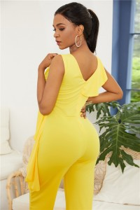 Elegant V Neck Yellow Jersey Clothing Woman Party Special Occasion Jumpsuit With Ruffle