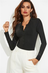 Elegant Women Romper Sexy Office Lady Bodysuit Scoop Long Sleeve Black Jumpsuit With Buttons