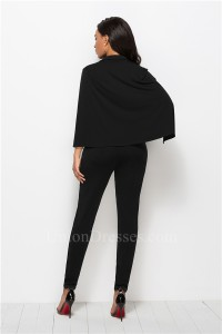 Fashion Deep V Neck Long Sleeve Black Bodysuit Formal Occasion Jumpsuit With Cape Buttons