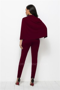 Fashion Deep V Neck Long Sleeve Burgundy Bodysuit Formal Occasion Jumpsuit With Cape Buttons