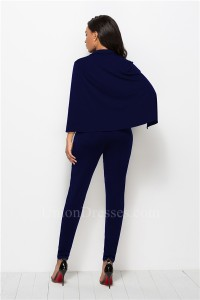 Fashion Deep V Neck Long Sleeve Navy Blue Bodysuit Formal Occasion Jumpsuit With Cape Buttons