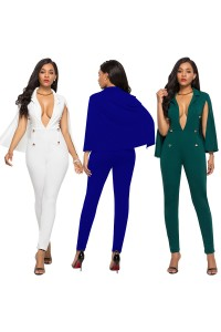 Fashion Deep V Neck Long Sleeve Teal Bodysuit Formal Occasion Jumpsuit With Cape Buttons