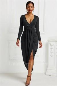 Fashion High Low Stretch Women Dress With Front Slit V Neck Long Sleeve Black Jersey