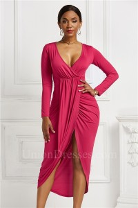 Fashion High Low Stretch Women Dress With Front Slit V Neck Long Sleeve Hot Pink Jersey